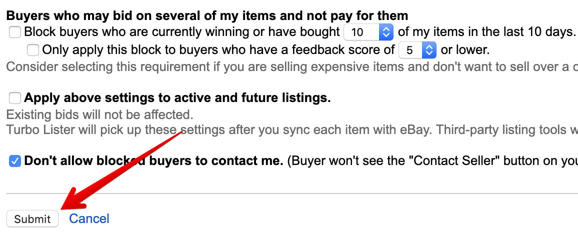 eBay block buyer submit button
