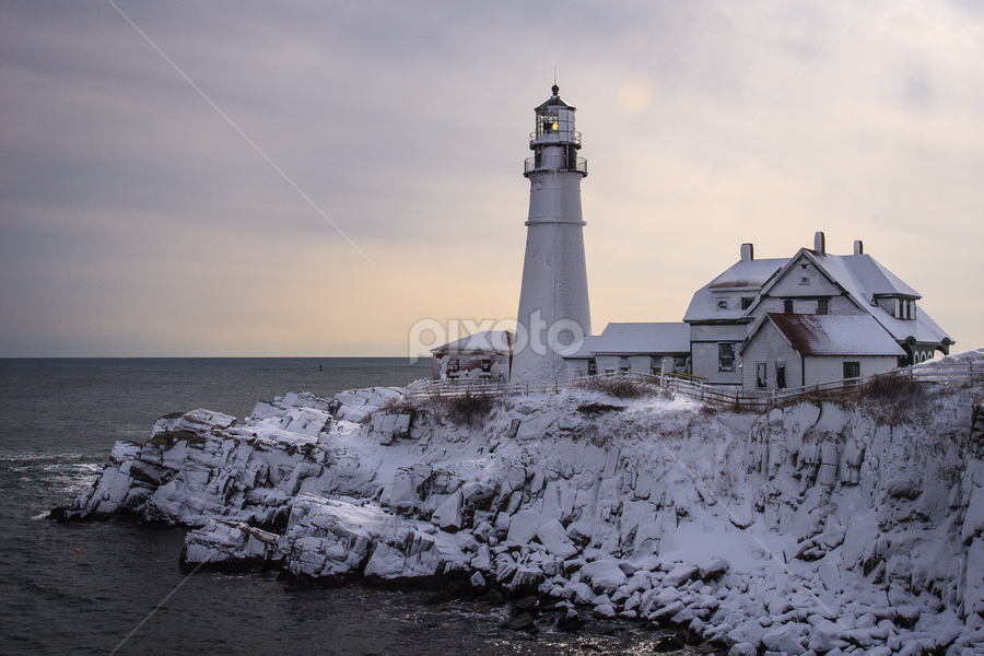 After the storm by Tom Whitney - Buildings & Architecture Public & Historical ( pwcfoulweather-dq, winter, cold, maine, horizontal, snow, lighthouse, storm, coast )