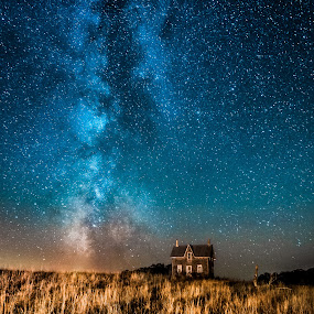 Milky Way Over Abandoned Farm House by Trevor Pottelberg - Landscapes Starscapes ( autumn, stars, fall, dark skies, night, north, astronomy, bruce peninsula,  )
