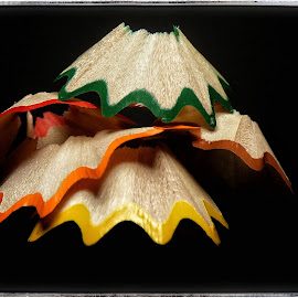 Shavings by Colin Davidson - Artistic Objects Still Life ( red, blue, yellow, shaving, pencil )