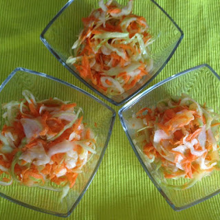 Clean Eating Cabbage Salad With Carrots And Pineapples.