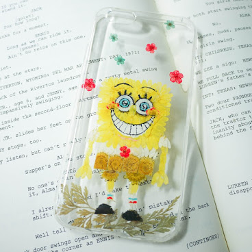 [訂製/custom-made] Sponge Bob Pressed Flower Phone Case