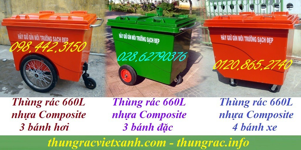 Thùng rác 660 lít nhựa composite