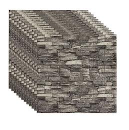 Set 5 x Tapet adeziv caramizi gri, 77 x 70 cm, spuma moale 3D