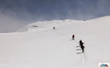 Photo: Hej hou, some boys & girls are uphilling on skis