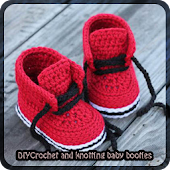 Crochet knotting baby booties