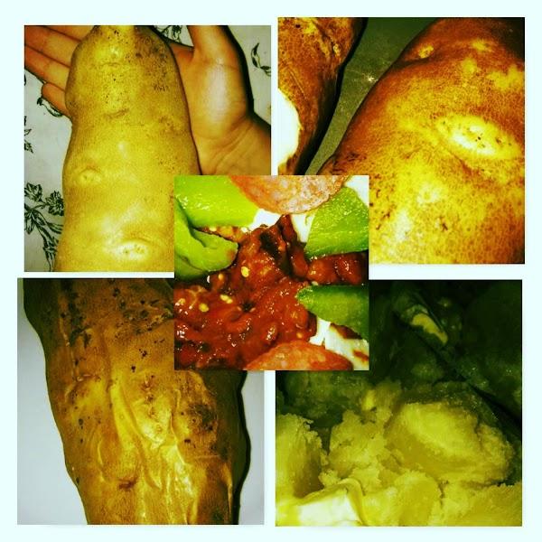Potato, potato washed, potato baked, potato cut open. Center photo is potato with Italian toppings.