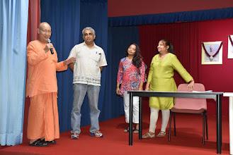 Photo: Swami Satyalokananda  thanking Mr Giridhar Nayak for his contribution as TAPAS President