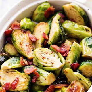 Roasted Maple Brussel Sprouts with Bacon.