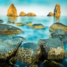 Aci Trezza by Kyle Kephart - Landscapes Beaches ( exposure, italian, aci, sea, long, rocks, italy, sicily, trezza )