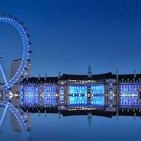 The Eye Reflects by Angel Weller - Buildings & Architecture Bridges & Suspended Structures ( reflection, london, blue, night, eye )