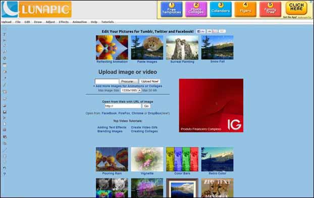 lunapic 16 Melhores Editores de Fotografia Gratis para Utilização Online