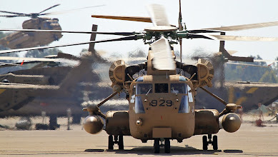 Photo: Check out the impressive 'Yassur' helicopters landing and taxiing in Tel Nof Airbase after completing a mission.