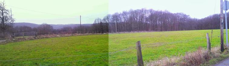 Photo: Blick gen Hasper Stadtwald. Rauten-Weg und Weg A7 folgen dem Ruhrhöhenweg Süd, siehe die Markierung rechts im Bild.