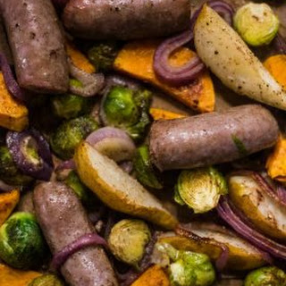 Brussels Sprout Pear Bratwurst Sheet Pan Dinner.