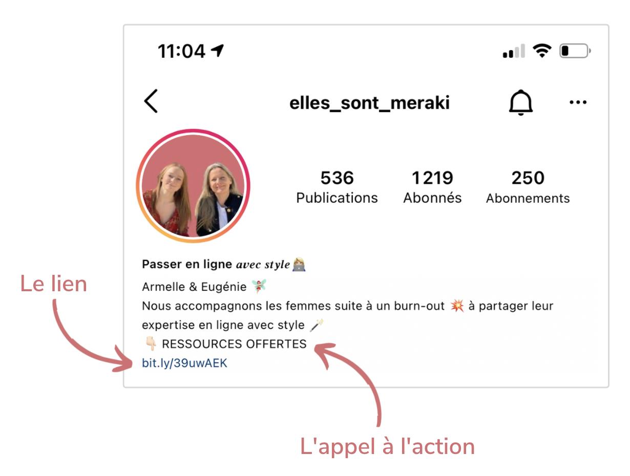 Lien et appel à l'action d'une bio d'un compte Instagram beau et professionnel
