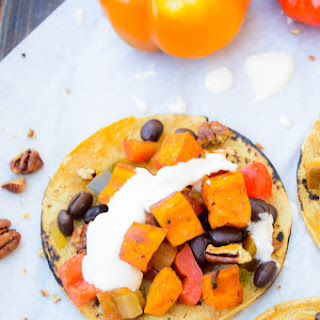 Vegetarian Sweet Potato, Black Bean & Pecan Tacos with Goat Cheese Sauce
