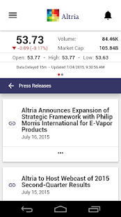 Altria Group, Inc. IR- screenshot thumbnail