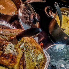 T-Day by Carlo McCoy - Food & Drink Plated Food ( mashed potatoes, pans, homemade, pots, black cooks, food, home cooks, turkey, public holiday, patience, gravy, cooking, food bloggers )