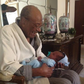 Grandpa (94) & Great-Grandson (3 months)  by Margaret Whitesides - People Portraits of Men