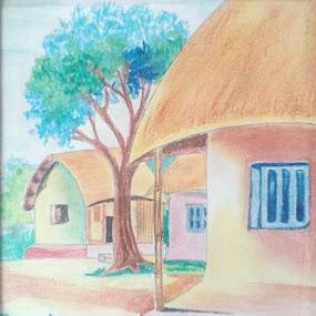 Huts by Satyabrata Paul - Drawing All Drawing
