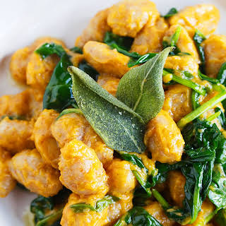 Whole Wheat Gnocchi with Brown Butter and Sage Pumpkin Sauce.