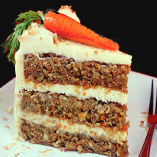 Banana Carrot Cake with Cream of Coconut Cream Cheese Frosting.
