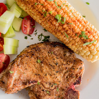 Grilled Pork Chops with Grilled Chile Lime Corn