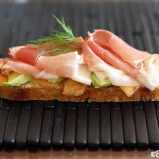 Melon, Avocado & Prosciutto Open-Faced Sandwich.