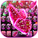 Pink Glitter Butterfly Keyboard Theme icon