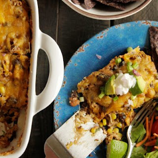 Smoked Chicken & Black Bean Enchilada Casserole