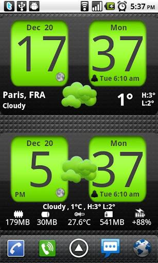 Flip Clock xTheme Widget 4x2 screenshot 1