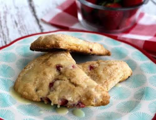 """Strawberry Scones With Orange Drizzle""""These are a delicious treat for breakfast or..."""