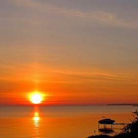 Lake Huron Sunrise by Bill Diller - Landscapes Sunsets & Sunrises ( orange, calm, sunrise, michigan, nature, great lakes, calmness, tranquil, tranquility, lake huron, peaceful )