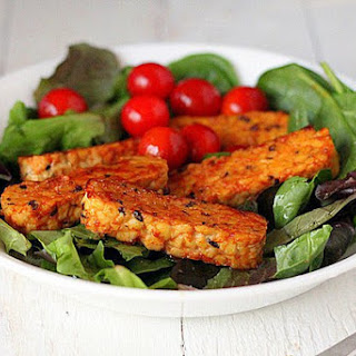 Gingery Maple Glazed Tempeh on Baby Greens Salad [Vegan]