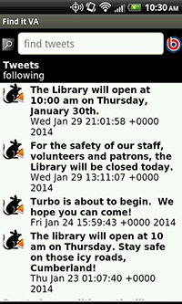 Keep Up with Cumberland County Public Library's Tweets, right from the Find It Virginia App!