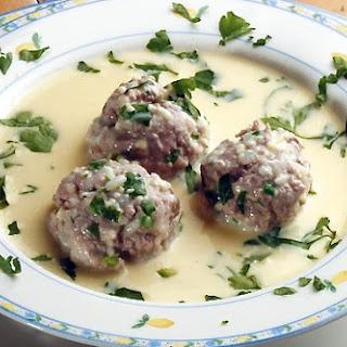 Traditional Greek Meatball Soup (Giouvarlakia/ Youvarlakia) in Egg-lemon sauce