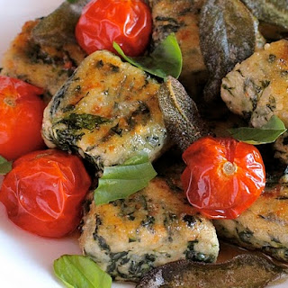 Spinach and Ricotta Gnocchi with Brown Butter Sage Sauce and Roasted Cherry Tomatoes
