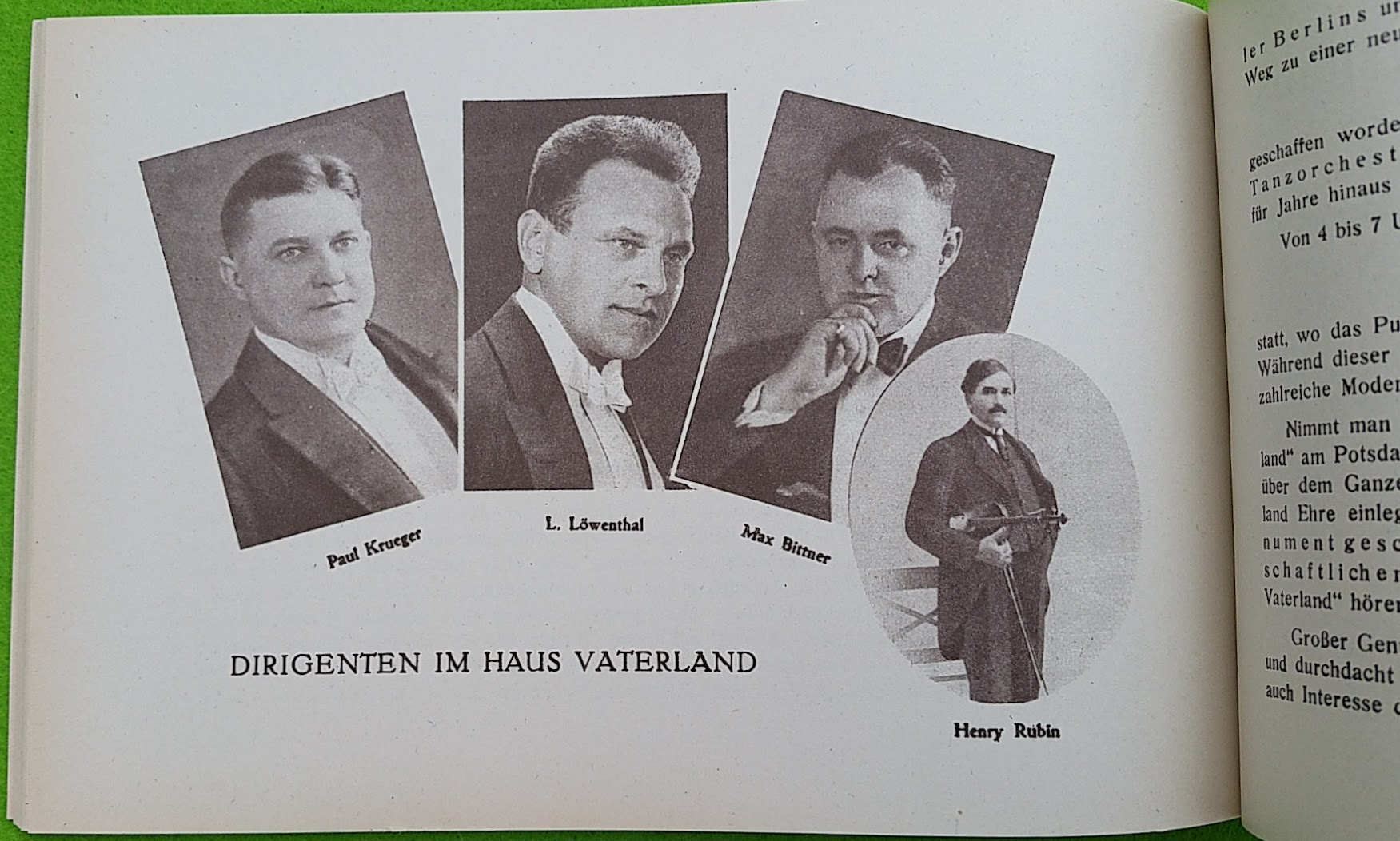 Begleitheft zur Eröffnung von Haus Vaterland am Potsdamer Platz, Berlin, 31. August 1928 - Dirigenten
