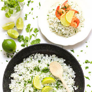 Cilantro Lime Rice with Curried Shrimp.