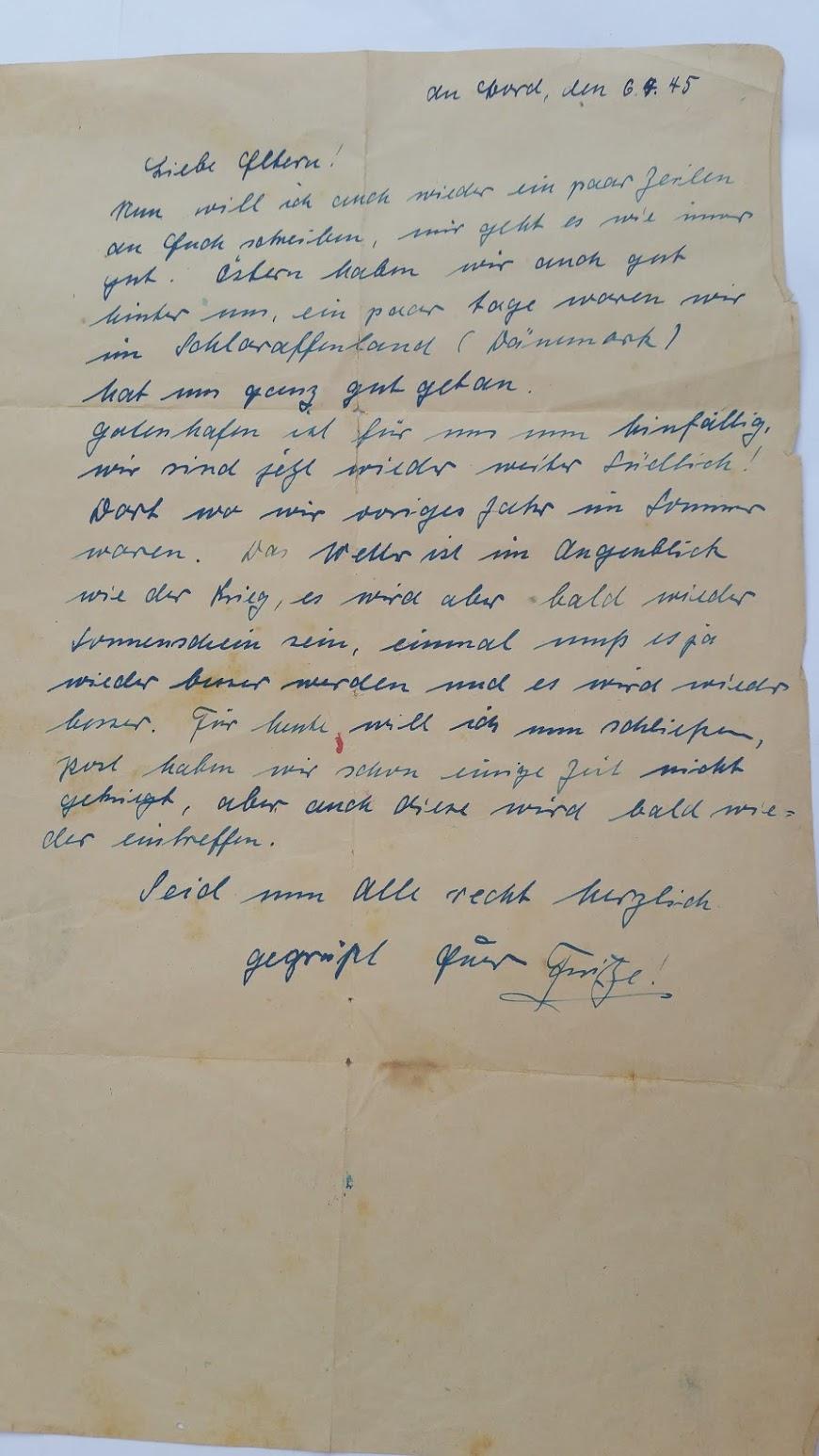 Brief von Bord eines deutschen U-Boots - 6.4.1945