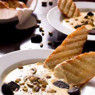 Smoked Gouda and Provolone Piccante Fonduta with Figs and Pistachios Recipe