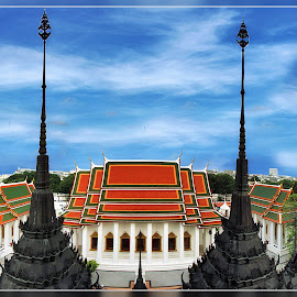 View From The Iorn Temple Bangkok by James Morris - Buildings & Architecture Places of Worship ( view from the iorn temple bangkok, thailand, iorn temple, bangkok, temple )