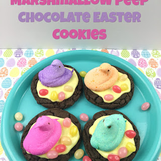 Marshmallow Peep Chocolate Easter Cookies