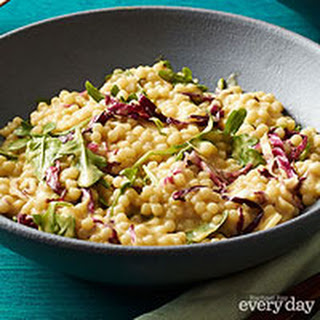 Pearl Couscous Risotto with Arugula.