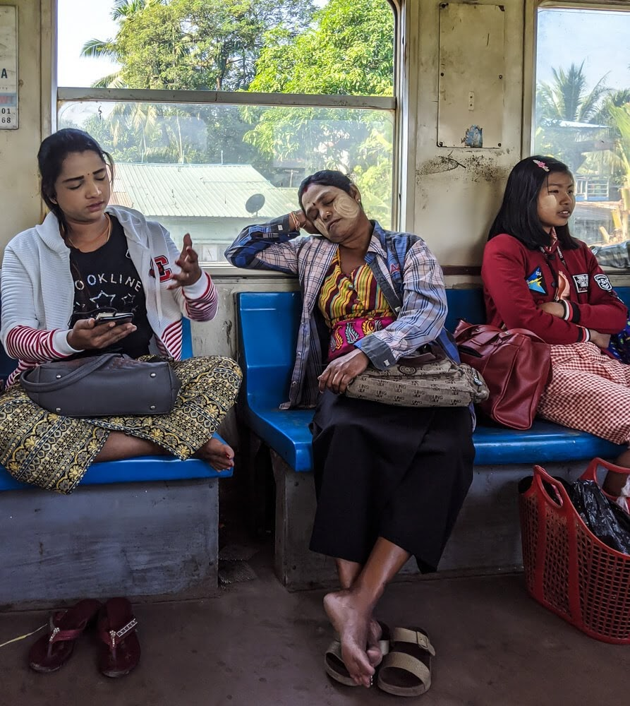 women on yangon circular train.jpg
