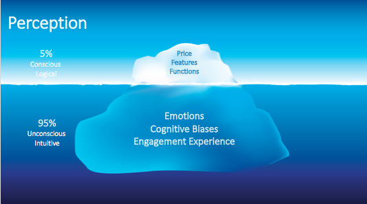 An iceberg drawing showing that our perception is only 5% conscious, logical and 95% unconscious, intuitive