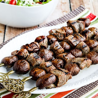 Steak and Mushroom Kabobs.