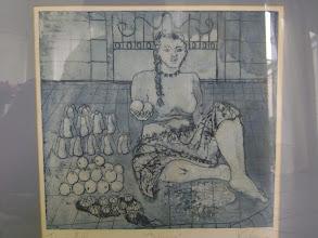 "Photo: María del Carmen Cachin Marusich,  Aguafuerte,  ""BOLIVIANA"" grabado sobre papel, prueba de artista, Córdoba, Argentina, 1987 primer plano sin marco 10 inch x 11 inch"