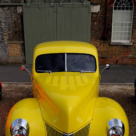 Deluxe in Yellow by DJ Cockburn - Transportation Automobiles ( england, britain, front view, festival of steam & transport, historic dockyard, ford deluxe, heritage, transport, history, vehicle, transportation, automobile, chatham, kent, classic, museum, car, yellow car, uk, vintage, yxs188, antique, gracie, american car )